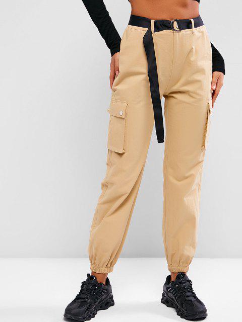 womens ZAFUL Boyish Pockets Belted Cargo Pants - KHAKI L Mobile