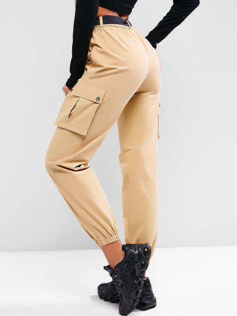 outfits ZAFUL Boyish Pockets Belted Cargo Pants - KHAKI M Mobile