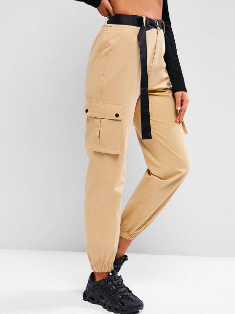 shops ZAFUL Boyish Pockets Belted Cargo Pants - KHAKI S Mobile