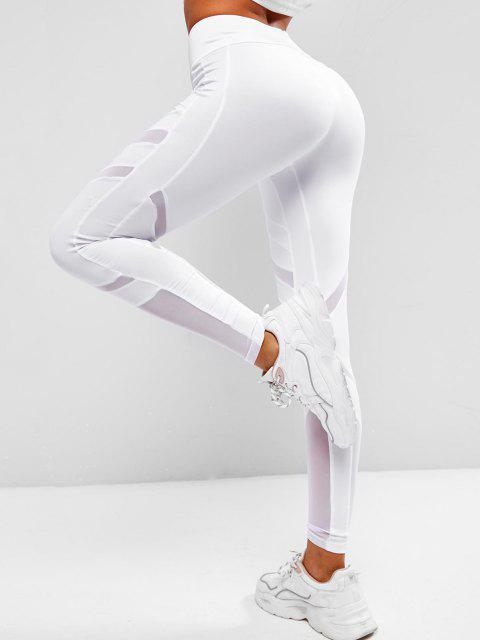 lady Mesh Panel Wide Waist Sports Leggings - WHITE L Mobile