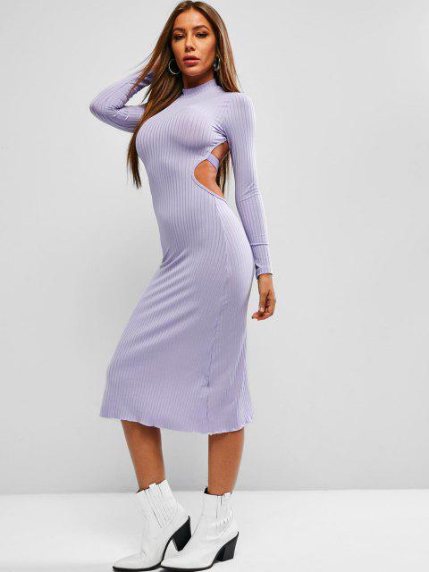 womens Tie Back Ribbed Backless Midi Dress - MEDIUM PURPLE M Mobile