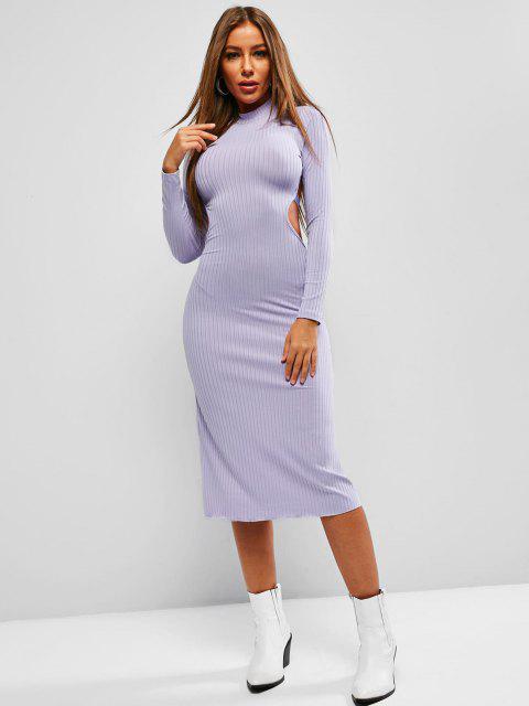 Mini Vestido Espalda Descubierta y Canalé - Púrpura Mediana S Mobile