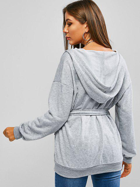 fancy ZAFUL Belted Tunic Zip Up Hoodie - GRAY GOOSE L Mobile