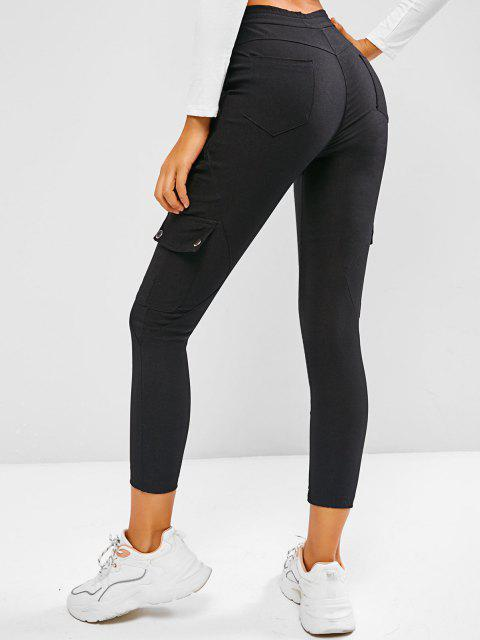 outfit Drawstring Beam Feet Cargo Skinny Pants - BLACK L Mobile