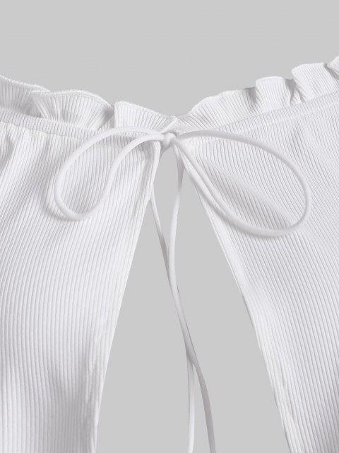 fashion ZAFUL Ribbed Frilled Off Shoulder Slim Tee - WHITE S Mobile