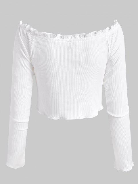 chic ZAFUL Ribbed Frilled Off Shoulder Slim Tee - WHITE M Mobile