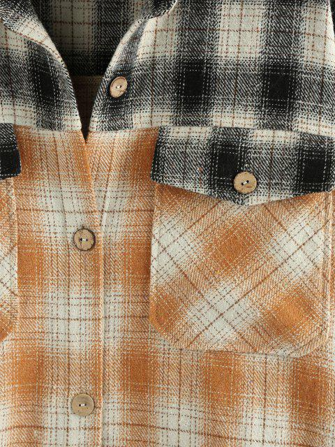 online ZAFUL Plaid Dual Pocket Drop Shoulder Tunic Shirt Coat - MULTI-A L Mobile