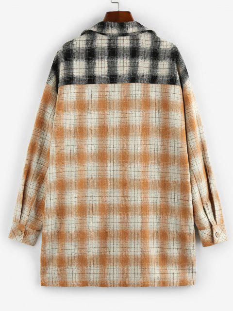 ZAFUL Plaid Dual Pocket Drop Shoulder Tunic Shirt Coat - متعددة-A S Mobile