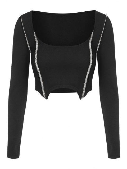 ZAFUL Camiseta Irregular de mangas compridas Cortado - Preto L Mobile