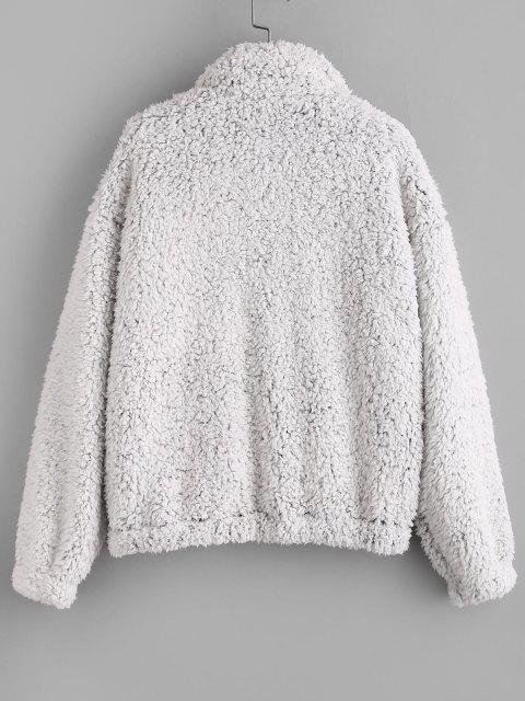 ZAFUL Pockets Fluffy Faux Fur Teddy Coat - الرماد رمادي L Mobile