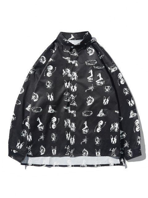Veste T-shirt en Tissu Imprimé de Crâne Animal Haut Bas - Noir M Mobile