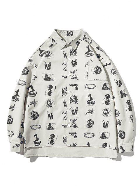 womens High Low Animal Figure Skull Allover Pattern Shirt Jacket - LIGHT GRAY M Mobile