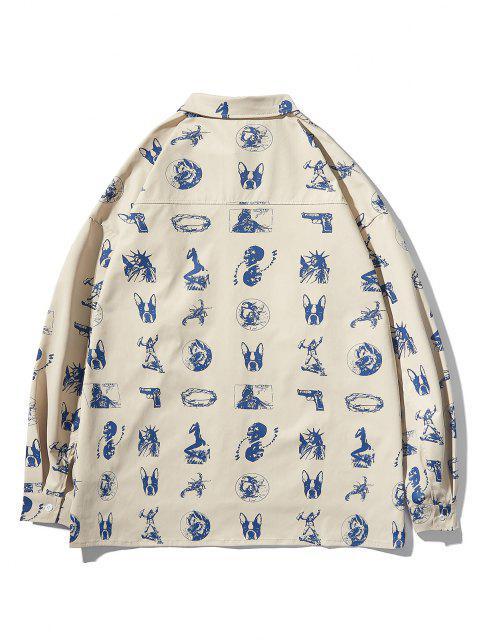 online High Low Animal Figure Skull Allover Pattern Shirt Jacket - LIGHT KHAKI 2XL Mobile