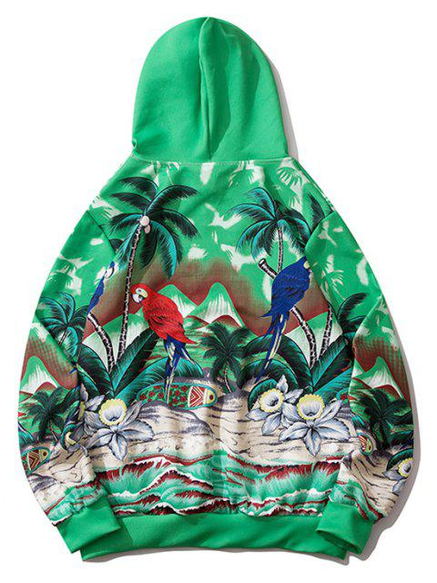latest Palm Tree Parrot Flower Tropical Print Hoodie - CLOVER GREEN 2XL Mobile