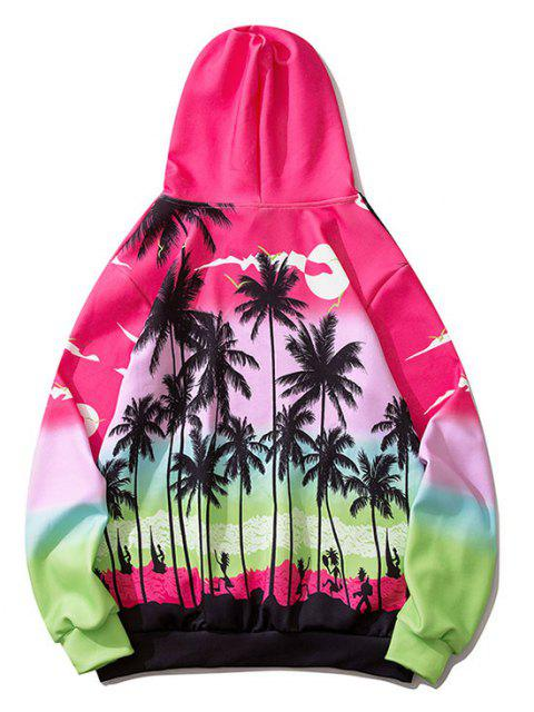 buy Ombre Palm Tree Hawaii Print Hoodie - ROSE RED M Mobile