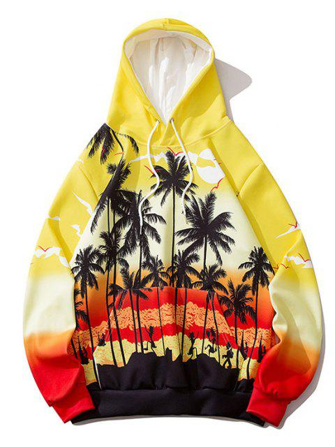 lady Ombre Palm Tree Hawaii Print Hoodie - RUBBER DUCKY YELLOW XL Mobile