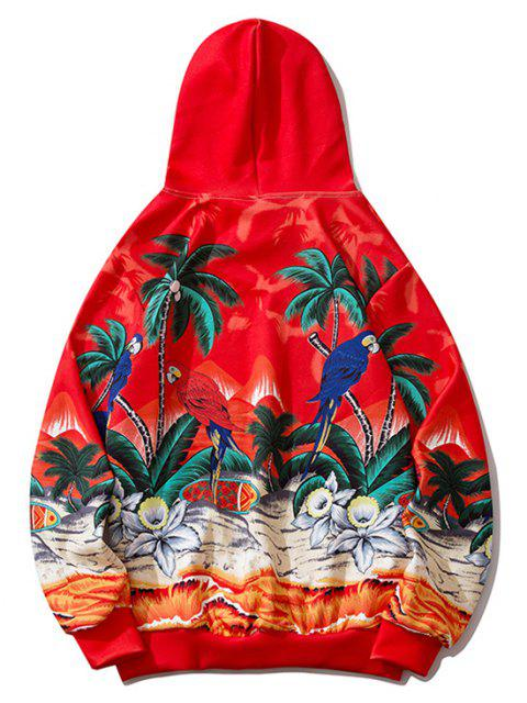 unique Palm Tree Parrot Flower Tropical Print Hoodie - RED 2XL Mobile