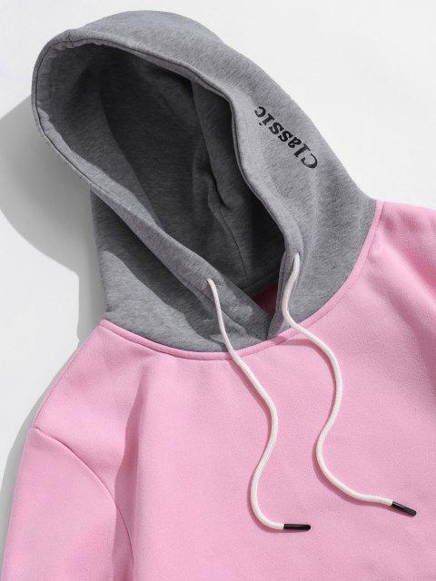 Sudadera con Capucha de Lana con Bolsillo de Parche de Carta de Color de Bloqueo - Rosado L Mobile