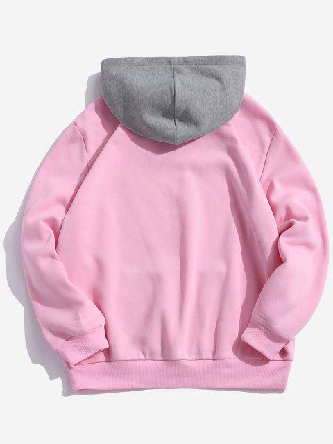 online Color-blocking Letter Patch Detail Pouch Pocket Fleece Hoodie - PINK XS Mobile