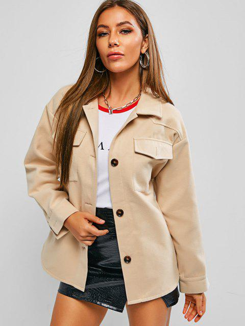 ZAFUL Woolen Pocket Belted Drop Shoulder Coat - ضوء الكاكي M Mobile