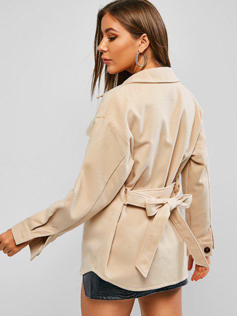 lady ZAFUL Woolen Pocket Belted Drop Shoulder Coat - LIGHT KHAKI L Mobile