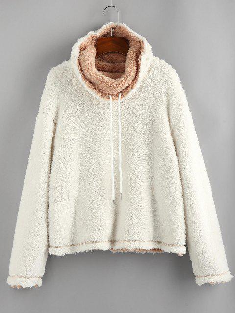 fancy ZAFUL Fluffy Drop Shoulder Reversible Cowl Neck Sweatshirt - LIGHT COFFEE M Mobile