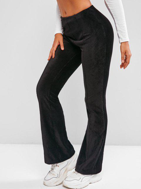 womens Mid Rise  Solid Corduroy Flare Pants - BLACK XL Mobile