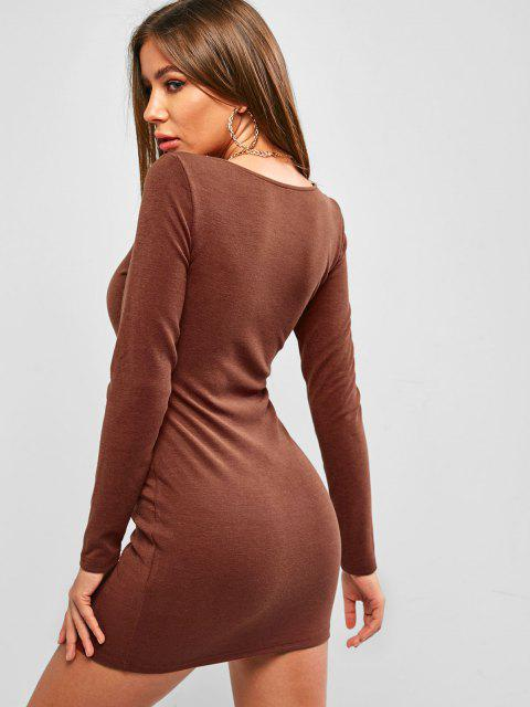 women's ZAFUL Loop Button Bodycon Mini Dress - SEPIA L Mobile