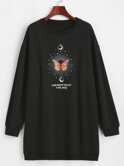 buy ZAFUL Moon and Butterfly Drop Shoulder Tunic Sweatshirt - BLACK S Mobile