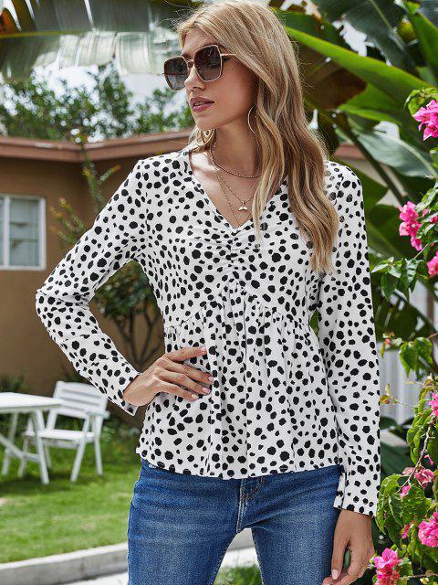 fashion V Neck Dalmatian Dot Ruched Front Blouse - WHITE M Mobile