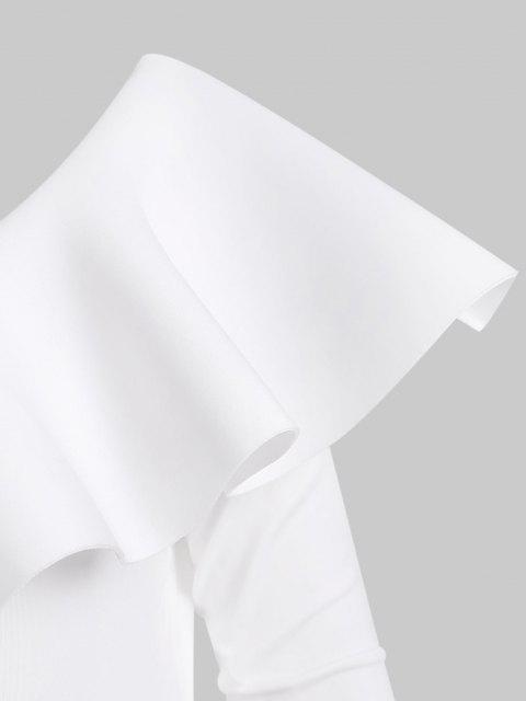 Body Combinaison Manches Longues à Col Oblique à Volants - Blanc S Mobile