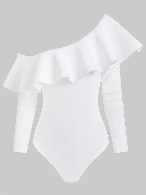 chic Skew Collar Flounce Snap Crotch Long Sleeve Bodysuit - WHITE M Mobile