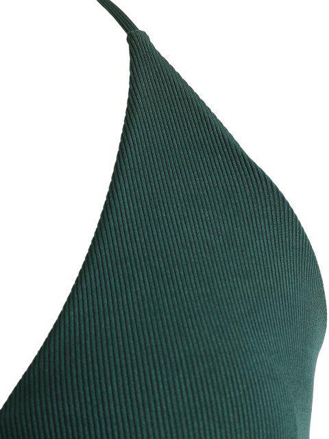 online ZAFUL Plus Size Ribbed Wrap Bikini Swimwear - DEEP GREEN XXL Mobile