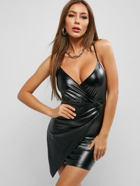 lady Faux Leather Surplice Asymmetrical Bodycon Dress - BLACK M Mobile
