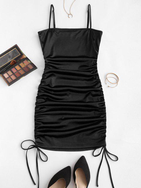 chic ZAFUL Spaghetti Strap Cinched Satin Bodycon Dress - BLACK L Mobile