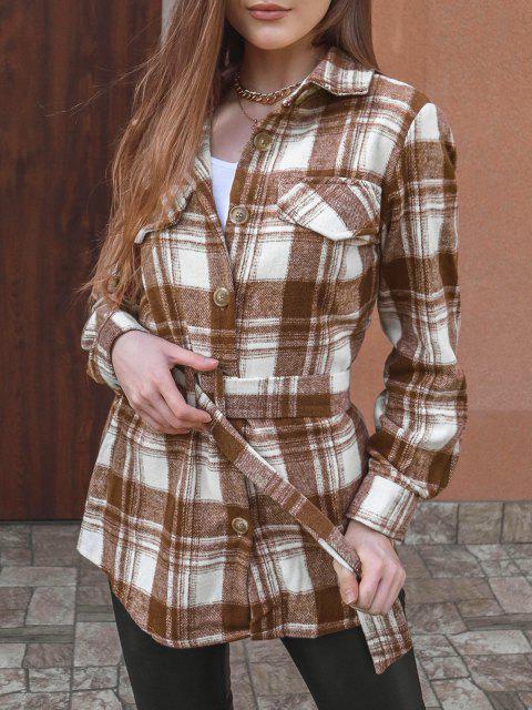 Mini Vestido Xadrez Flap Cinto - Café XL Mobile