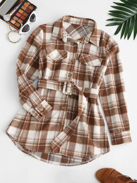 trendy Flap Detail Plaid Belted Mini Dress - COFFEE M Mobile