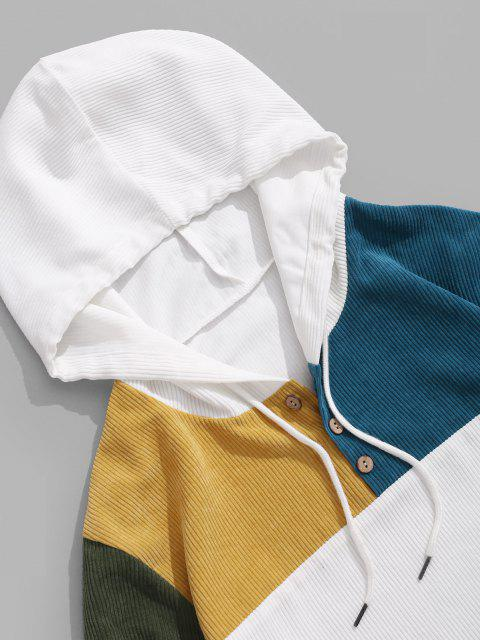 ZAFUL Sweat à Capuche Contrasté Boutonné en Velours Côtelé - Blanc XL Mobile