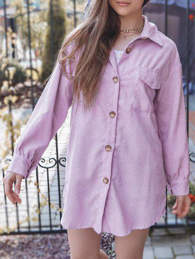 Corduroy Button Up Pocket Tunic Dress - Light Purple Xl