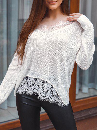 Lace Eyelash Sheer Drop Shoulder Sweater - White