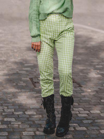 High Waisted Plaid Straight Pants - Light Green S