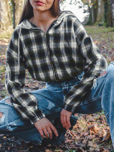 Plaid Hooded Zip Drop Shoulder Jacket - Green M