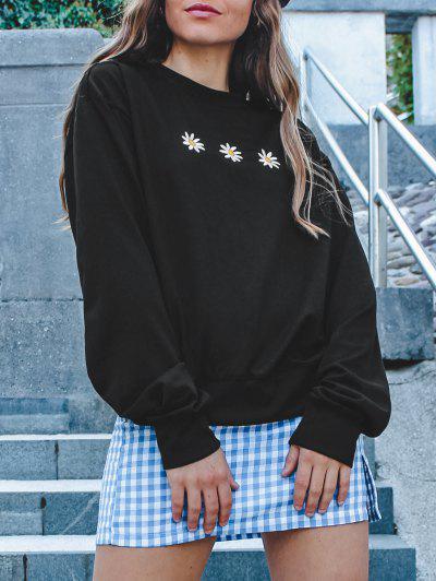 Crew Neck Daisy Embroidered Sweatshirt - Black Xl