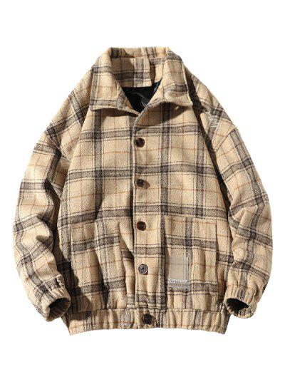 He Is A Boy Embroidery Plaid Button Up Jacket - Beige 2xl
