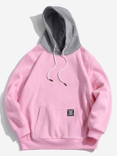 Color-blocking Letter Patch Detail Pouch Pocket Fleece Hoodie - Pink M