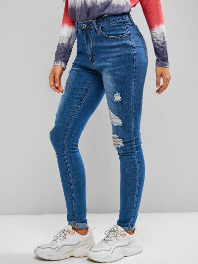 Ripped Cuffed Skinny Jeans - Blue M
