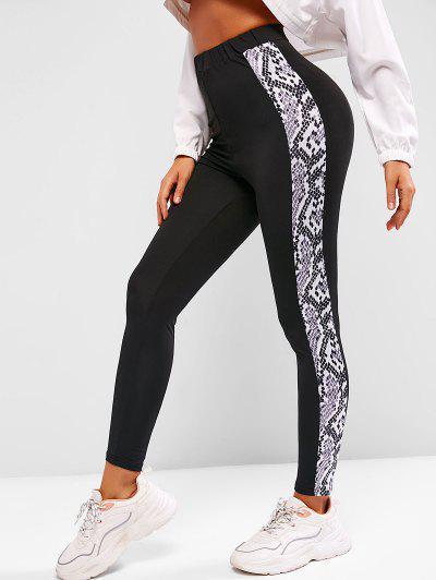 Legging De Sport Serpent Imprimé à Taille Haute - Noir L