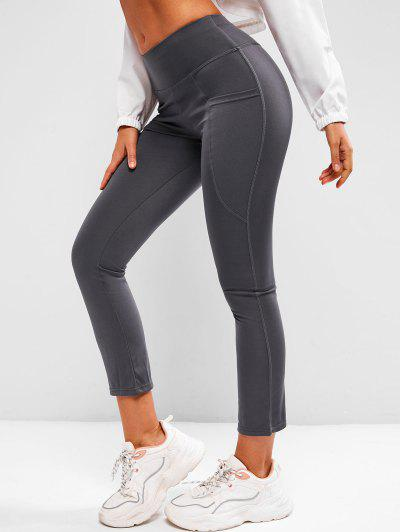 Wide Waistband Pocket Yoga Boot Cut Pants - Gray S