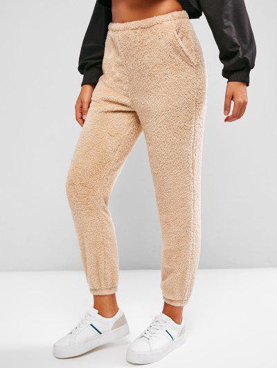 ZAFUL High Rise Plush Faux Fur Pants - Light Coffee M