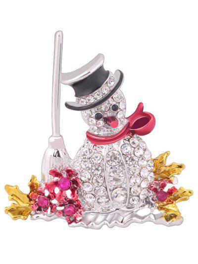 Snowman Shape Christmas Rhinestone Brooch - Multi